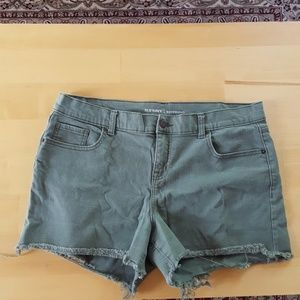 Old Navy Hunter green jean cutoff shorts size 14